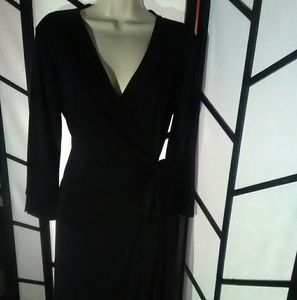 NY&CO Black V Neck Wrap Dress